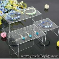 Dudukan Display Aksesoris Perhiasan Akrilik Rak Tas Aksesoris Kosmetik Transparan Set isi 3