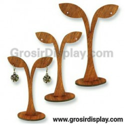 Display Anting Giwang Kayu Daun Set Isi 3 Pohon Y Mini