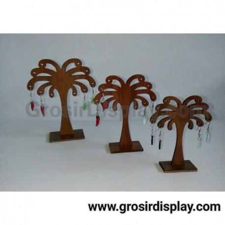Display Anting Pohon Kelapa Kayu Set isi 3 Pajangan Aksesoris Giwang