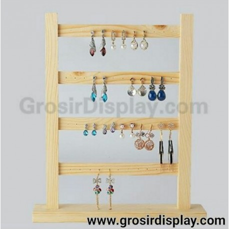Display Pajangan Anting Kotak Earing Kayu 4 Susun Gantungan Aksesoris Giwang