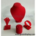 Set Display Bludru Merah Perhiasan Cincin Kalung Anting Gelang Pajangan Beludru Seserahan Lamaran Perlengkapan Pernikahan