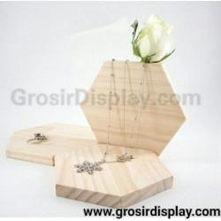 Display Kalung Papan Kayu Segi 6 Aksesoris Pajangan Perhiasan Unik