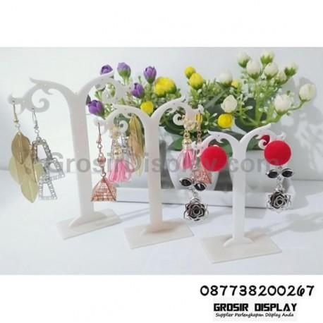 Rak Display Anting Giwang Set Isi 3 Pohon Y Mini Putih Susu