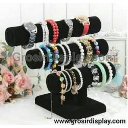 Display Tempat Gelang Jam Tangan Aksesoris Perhiasan Rak Toko 3 Susun