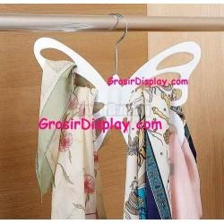 Hanger Butterfly White Kupu-Kupu Display Pajangan Jilbab Syal Gantungan Dasi Pasmina